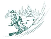 Skier in action. Handdrawn illustration of skier in action Royalty Free Stock Photography