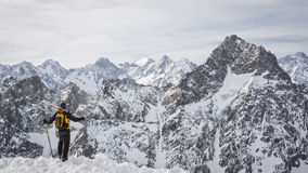 Skier admiring the mountains Royalty Free Stock Image