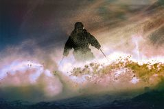 Skier against the sun. And snow Royalty Free Stock Images