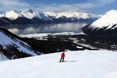 Skier with alpine view in Alaska Stock Images