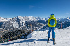 Skier in the alps Royalty Free Stock Photography