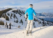 Skier on a background of mountains Stock Photography