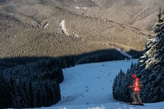 Skier at the top of descent enjoying mountains and forests Stock Photo