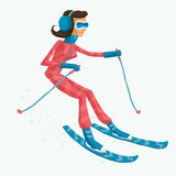 Skier, biathlete, freestyler or mountain-skier at the Olympic games or other winter tournaments. Royalty Free Stock Image