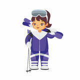 Skier in a blue suit Royalty Free Stock Images