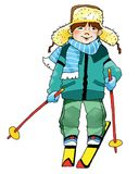 Skier boy athlete student competition Stock Photo