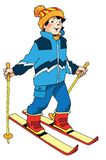 Skier boy athlete student competition Stock Photos