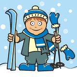 Skier. Boy and ski. Ski equipment, skis and poles. Vector illustration Royalty Free Stock Photography