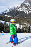 Skier boy on the slope Royalty Free Stock Photo