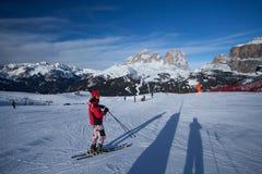Skier on the Canazei ski resort Royalty Free Stock Photos