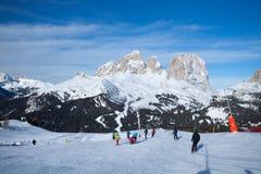 Skier on the Canazei ski resort Stock Photos