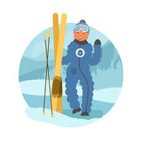 Skier child flat vector illustration. Little boy skiing concept. Happy child on winter holidays. Boy with skis on natural winter background Royalty Free Stock Photography