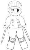 Skier coloring page. Useful as coloring book for kids Royalty Free Stock Photo