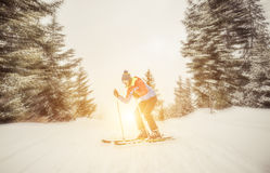 Skier coming down from the mountain Royalty Free Stock Photo