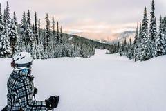 Skier deciding whether to go down this run Stock Photos