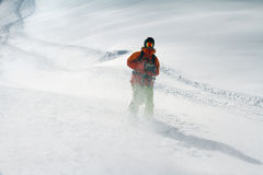 Skier in deep powder, extreme freeride Stock Photography