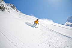 Skier in deep powder, extreme freeride Stock Photos