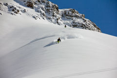 Skier in deep powder, extreme freeride Stock Photo