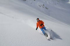 Skier in deep powder, extreme freeride Stock Photo