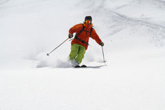 Skier in deep powder, extreme freeride Stock Image