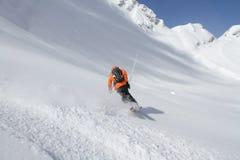Skier in deep powder, extreme freeride Royalty Free Stock Photos