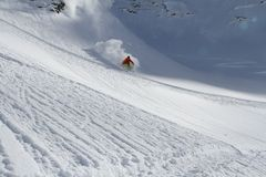 Skier in deep powder, extreme freeride Stock Images