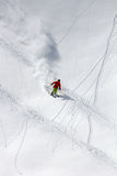 Skier in deep powder, extreme freeride Royalty Free Stock Images