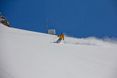 Skier in deep powder, extreme freeride Royalty Free Stock Image
