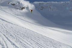 Skier in deep powder, extreme freeride Stock Photos