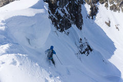 Skier in deep powder, extreme freeride. Skier in deep powder, extreme winter freeride Royalty Free Stock Photos