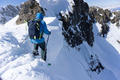 Skier in deep powder, extreme freeride. Skier in deep powder, extreme winter freeride Royalty Free Stock Image