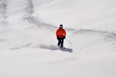 Skier in deep powder, freeride Royalty Free Stock Image