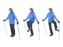 Skier demonstrate warm up exercise for skiing royalty free stock images