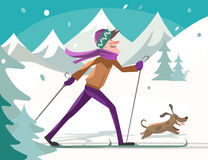 Skier with a dog Royalty Free Stock Photography