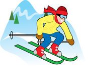 Skier Downhill. Happy downhill skier on a snowy hilltop Royalty Free Stock Photo