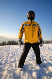 Skier dressing yellow coat Royalty Free Stock Photos