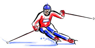 Skier in dry chalkcharcoal pencil and watercolor Vector Illustration