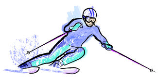 Skier in dry chalkcharcoal pencil and watercolor Royalty Free Stock Photo