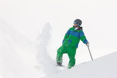 Skier dusting snow Royalty Free Stock Photo