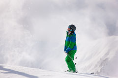 Skier dusting snow Royalty Free Stock Photography