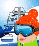 Skier and elevator. Illustration, AI file included Stock Image