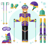 Skier with equipment. Flat design vector illustration of skiing equipment. Smiling happy skier with ski. Including icons of helmet, googles or glasses, gloves Royalty Free Stock Image