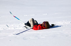 Skier fall. A skier falls in the snow Royalty Free Stock Images