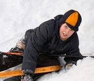 Skier fallen after sliding Stock Photography