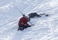 Skier fell. In the park in nature Royalty Free Stock Photography