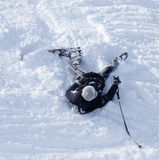 The skier fell in the snow at speed Stock Photos
