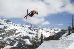 Skier. Fis freestyle junior world championships 2014  - in Chiesa Valmalenco Italy - April 2, 2014 - slopestyle freestyle Royalty Free Stock Photography