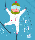 Skier Funny Free Rider Jump Fun Poster Design Stock Photos