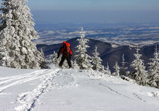 Skier getting down from the mountain Stock Photography