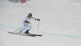 Skier in Giant Slalom Test Royalty Free Stock Images